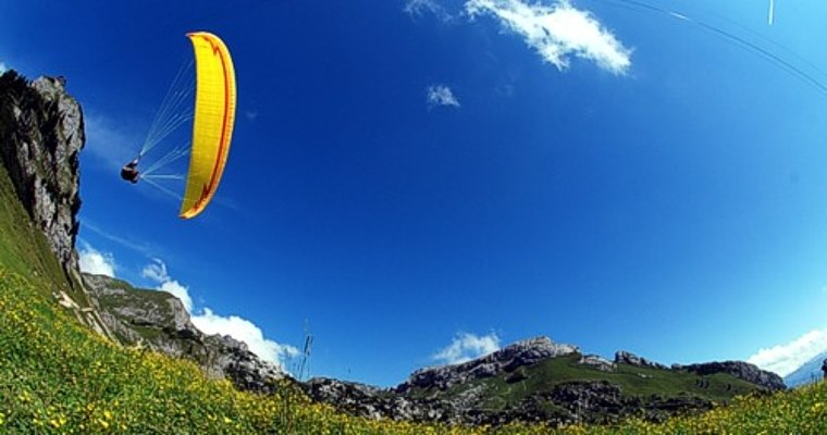 A yellow FACTOR flying over a yellow-blossomed meadow at the Rofan, Austria.